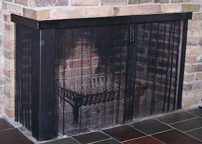 Alternatives to fireplace doors. Attached sliding mesh screens
